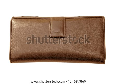 Women brown natural leather wallet isolated on white background. - stock photo
