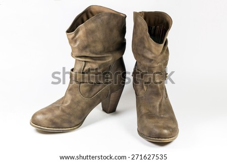 Women Brown Suede fashion Boots. - stock photo