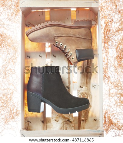 women casual boots on a concept photography in pan