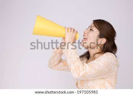 Women Cheering Up With Megaphone
