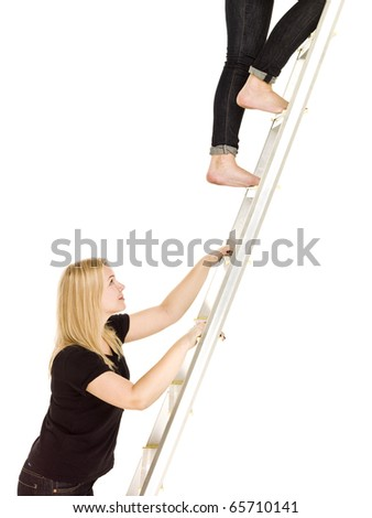 Women climbing up the ladder isolated on white background - stock photo
