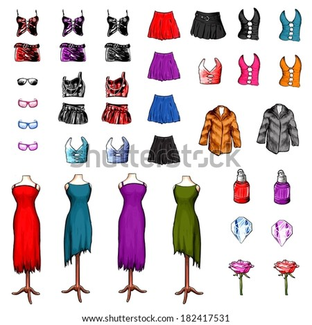 women clothes fashion and accessories set isolated on white background - stock photo