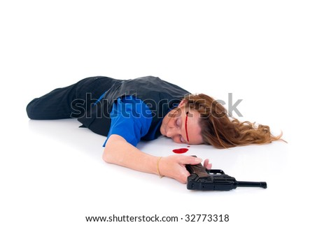 Women committed suicide, weapon in hand, blood and wound on face.  Studio, white background.