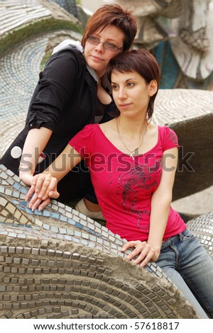 women couple outdoor - stock photo