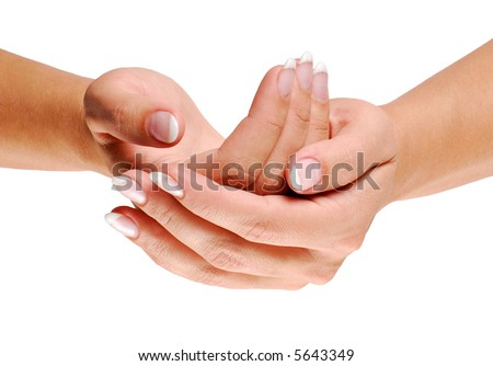 Women Cupped hand on white - stock photo