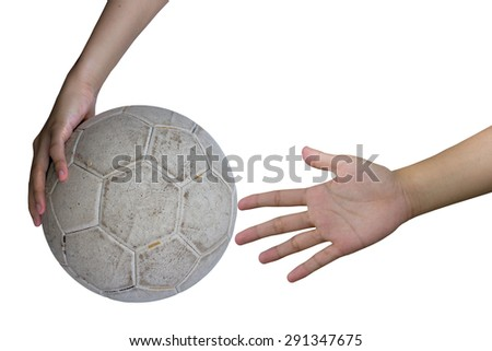 Women deprecating and hand holding white soccer ball on a white background. - stock photo