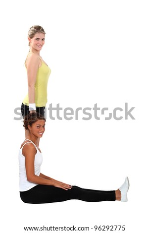 women doing exercises - stock photo