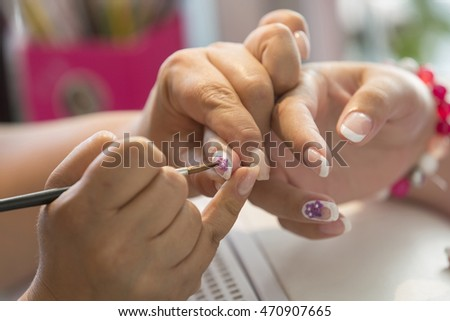 Women doing manicure, Sofia, Bulgaria