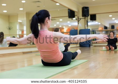 Women doing Pilates in gym