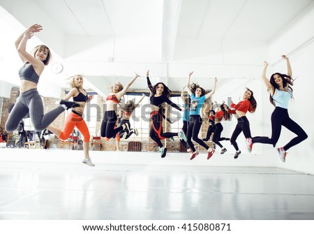 Women doing sport in gym, healthcare lifestyle people concept, modern loft studio - stock photo