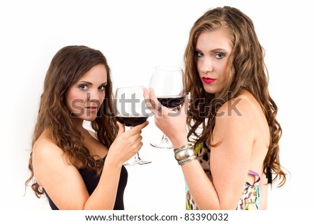 Women drinking wine - stock photo