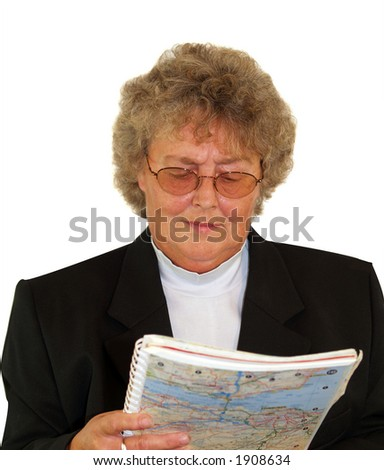 Women driver checking road map - stock photo