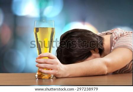 Women, Drunk, Alcoholism. - stock photo