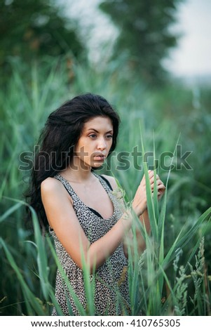 Women enjoying nature in meadow. fresh morning air summer Field at sunrise