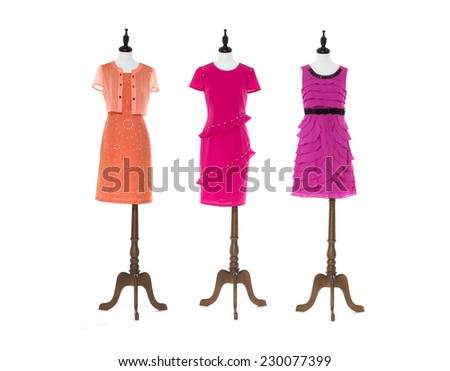 Women evening dress on three dummy - full-length - stock photo