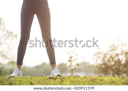 Women exercising.Women exercising in sunny bright light