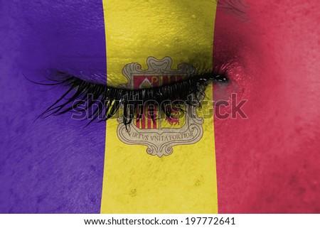 Women eye, close-up, concept of grief, Andorra - stock photo