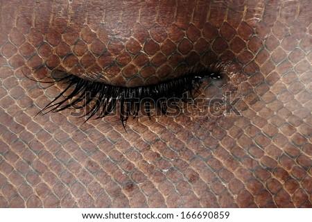 Women eye, close-up, concept of sadness, snake pattern - stock photo