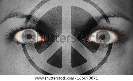 Women eye, close-up, eyes wide open, peace - stock photo