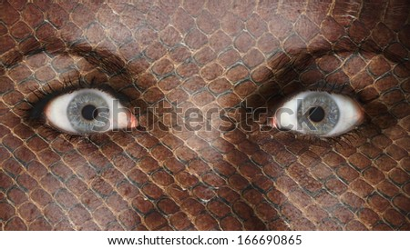 Women eye, close-up, eyes wide open, snake pattern - stock photo