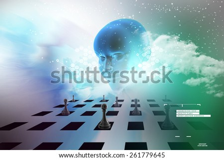 Women face and black pawn   - stock photo
