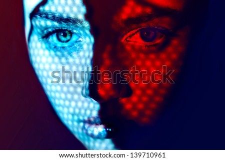 Women face art graphic color lights - stock photo