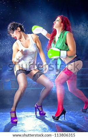 Women fighting to death in lingerie. / Woman Ultimate Fight - stock photo