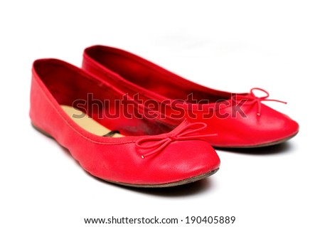 Women flat shoes isolated on white - stock photo
