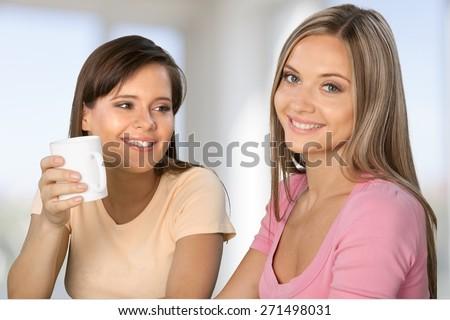 Women, Friendship, Talking. - stock photo