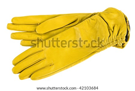 Women gloves isolated on white. Yellow. Clipping path