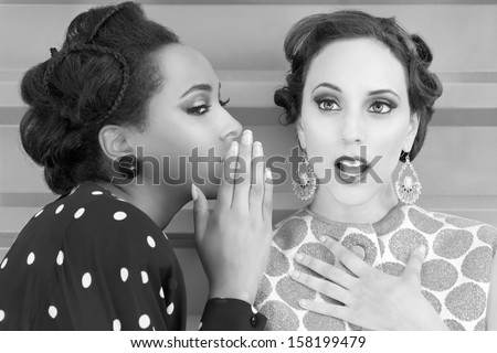 Women gossip and secrets vintage - stock photo