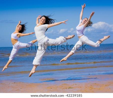 women group dance - stock photo