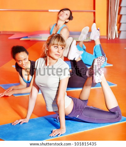 Women group in aerobics class. Active lifestyle. - stock photo