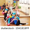 Women group in aerobics class.  Fitness ball. - stock