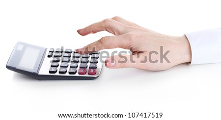 women hand and Calculator isolated on white