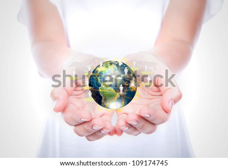 Women hand hold earth of social network  (Elements of this image furnished by NASA) - stock photo