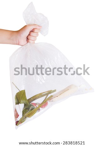 Women Hand hold Reuse Bag on Isolated white background,recycle Bag, Save the world concept