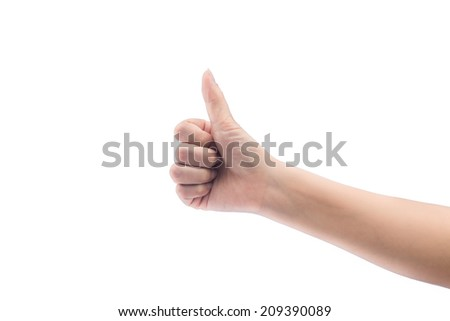 women hand holding a thumb on a white background - stock photo