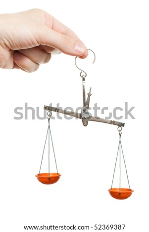 Women hand holding balance measuring weight scale - stock photo