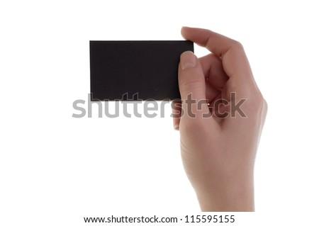 Women hand holding blank card - stock photo