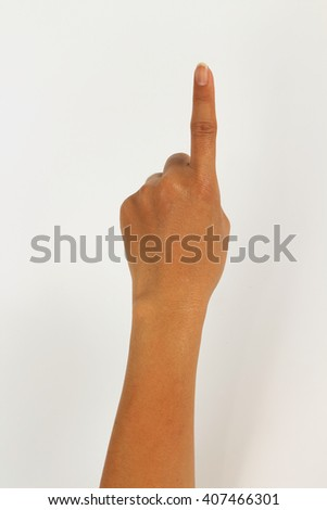 women hand isolated on white background showing one finger - stock photo