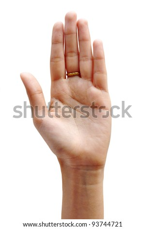 women hand make thumbs up isolated over white - stock photo