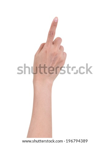 Women hand pointing isolated on white background, clipping path - stock photo