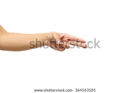 women hand show two gesture isolated on white background - stock photo