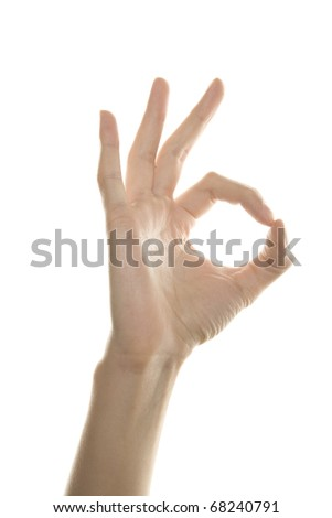 Women hand shows the sign of OK. Isolated on white background - stock photo