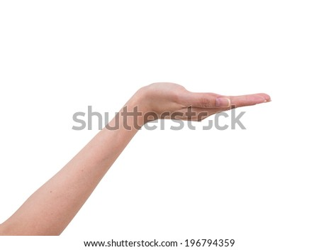 Women hand with opened isolated on white background, clipping path