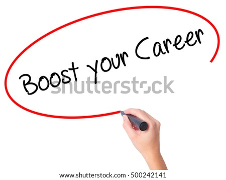 Women Hand writing Boost your Career with black marker on visual screen. Isolated on white. Business, technology, internet concept. Stock Photo