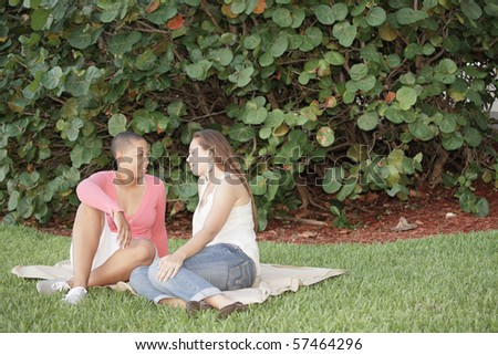 Women having a picnic in the park - stock photo