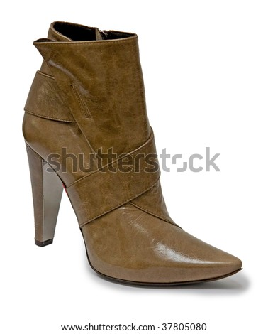 Women high heel boot isolated on white