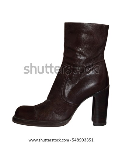 Women high-heeled leathers boot isolated on a white background.